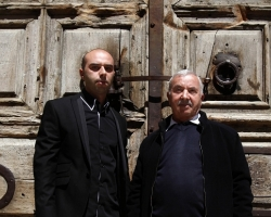 The Muslim doorkeeper of the Church of the Holy Sepulchre, Wajeeh Nuseibeh, and his son Obada