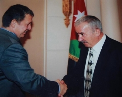 King Abdullah of Jordan receives Wajih Nuseibeh during a reception held in honor of Jerusalemites, September 2010
