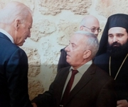 Wajeeh Yacoub Nuseibeh receiving the Vice President of America Joe Biden at the Church of the Holy Sepulcher . (March 26th , 2016)