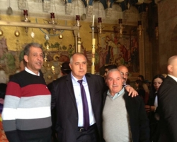 Mr. Waji Nuseibeh with the Bulgarian Prime Minister Boyko Borisov at the Church of the Holy Sepulchre-Jerusalem